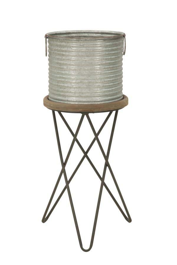 Ghiveci West, 74x34x34.5 cm, metal/ mdf, maro/ gri