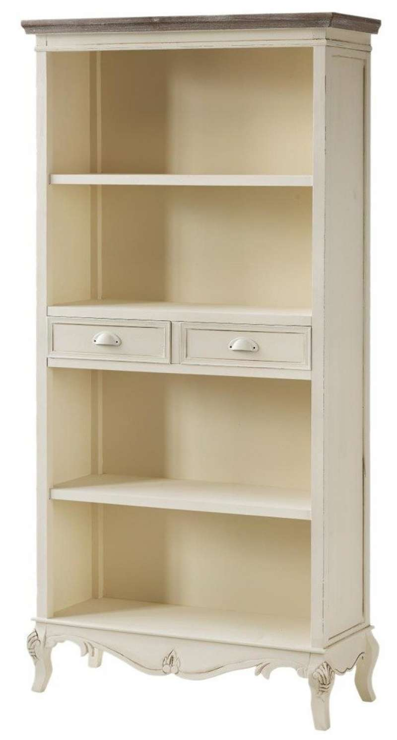 Bibliotecă cu două sertare Adelaida, 179x90x35 cm, lemn de plop/ mdf/ metal, crem/ maro deschis poza