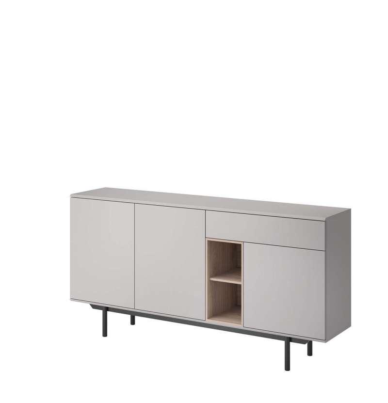 Bufet Augusta, 89x175x40 cm, pal/ lemn, gri/ negru poza