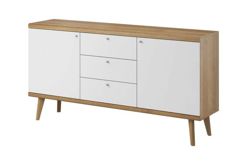 Bufet cu două uși și trei sertare Andera, 83x160x40 cm, pal/ mdf/ lemn de stejar/ aluminiu, maro/ alb poza