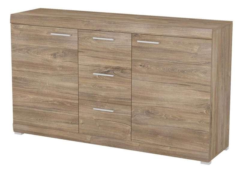 Bufet cu sertare și uși Brandi, 88x150x38 cm, pal/ mdf/ plastic, maro poza
