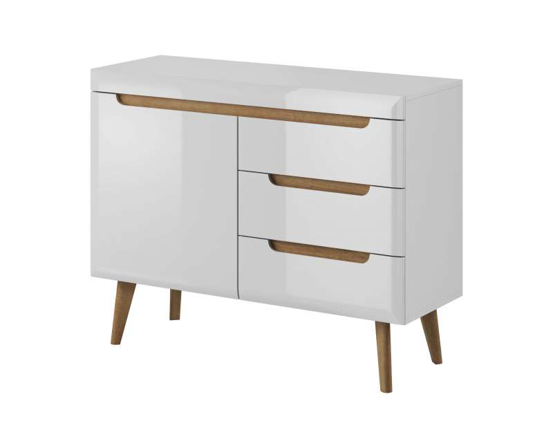 Bufet cu ușă și sertare Alix, 83x107x40 cm, pal/ mdf/ lemn de stejar, maro/ alb poza