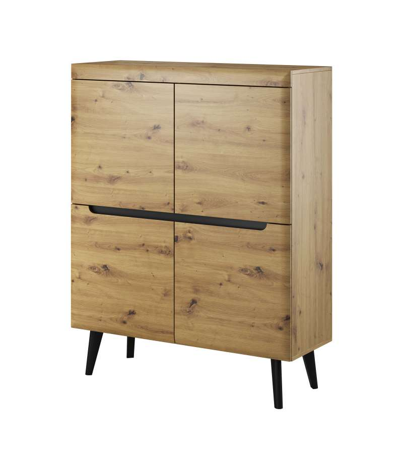 Bufet cu uși Alix, 134x107x40 cm, pal/ mdf/ lemn, maro/ negru poza