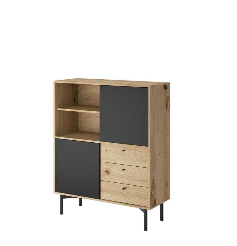 Bufet cu uși și sertare Brooke, 126x102x41 cm, pal/ lemn/ metal, maro/ negru poza