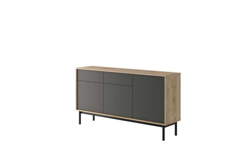 Bufet cu uși și sertare Caron, 84x154x39 cm, pal/ lemn, maro/ gri poza