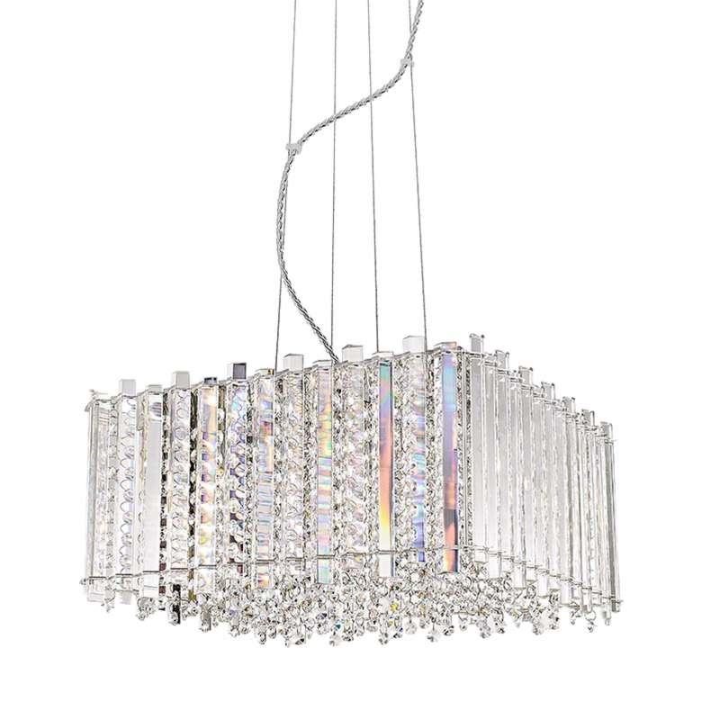 Candelabru cu cristale Melanie, 35-146x43x43 cm, metal/ cristal, transparent/ argintiu/ crom poza