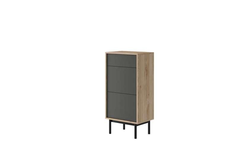 Comodă Caron, 112x54x39 cm, pal/ lemn, maro/ gri poza