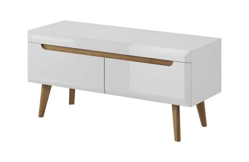 Comodă TV cu două sertare Alix, 50x107x40 cm, pal/ mdf/ lemn de stejar, maro/ alb poza