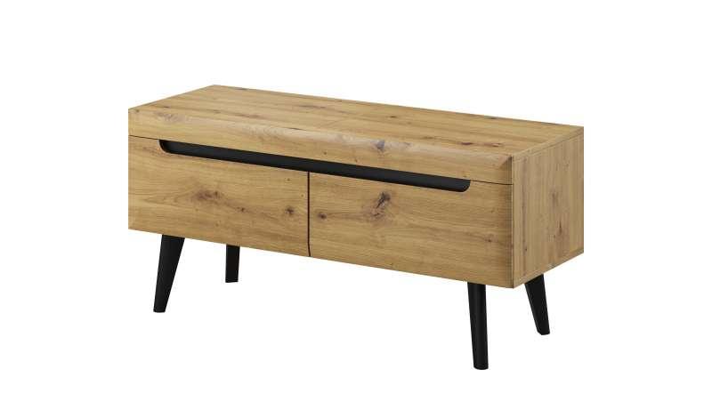 Comodă TV cu două sertare Alix, 50x107x40 cm, pal/ mdf/ lemn, maro/ negru poza