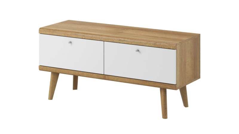 Comodă TV cu două sertare Andera, 50x107x40 cm, pal/ mdf/ lemn de stejar/ aluminiu, maro/ alb poza