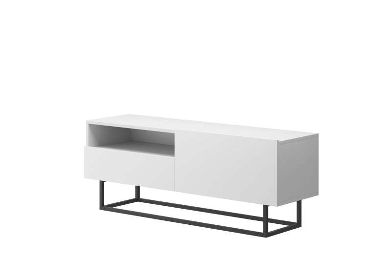 Comodă TV cu raft și ușă Curtis, 47x120x37 cm, pal/ metal, alb poza
