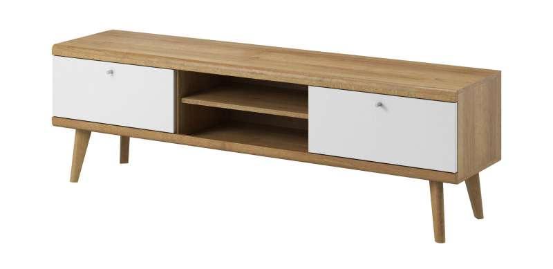 Comodă TV cu rafturi și sertare Andera, 50x160x40 cm, pal/ mdf/ lemn de stejar/ aluminiu, maro/ alb poza
