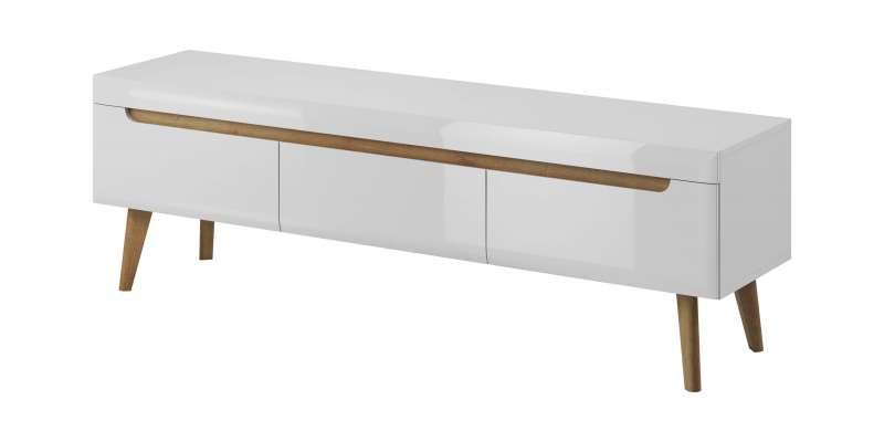 Comodă TV cu trei sertare Alix, 50x160x40 cm, pal/ mdf/ lemn de stejar, maro/ alb poza