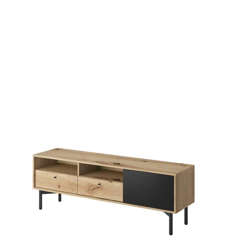 Comodă TV cu ușă și două sertare Brooke, 53x151x41 cm, pal/ lemn/ metal, maro/ negru poza
