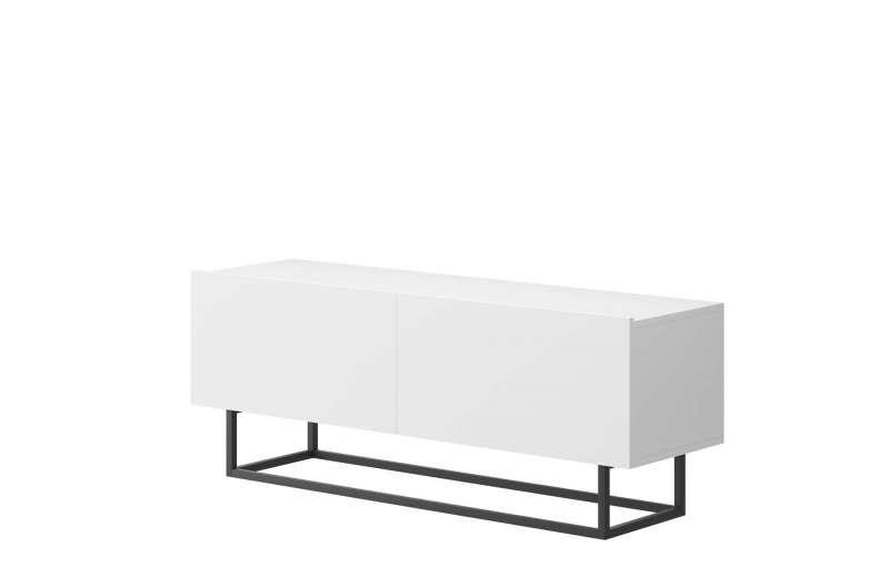 Comodă TV cu uși Curtis, 47x120x37 cm, pal/ metal, alb poza