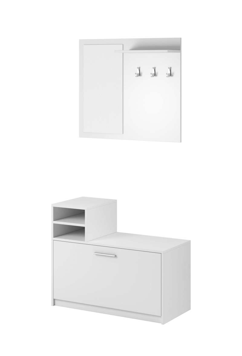 Cuier Federico, 180x80x26 cm, pal/ plastic, alb poza