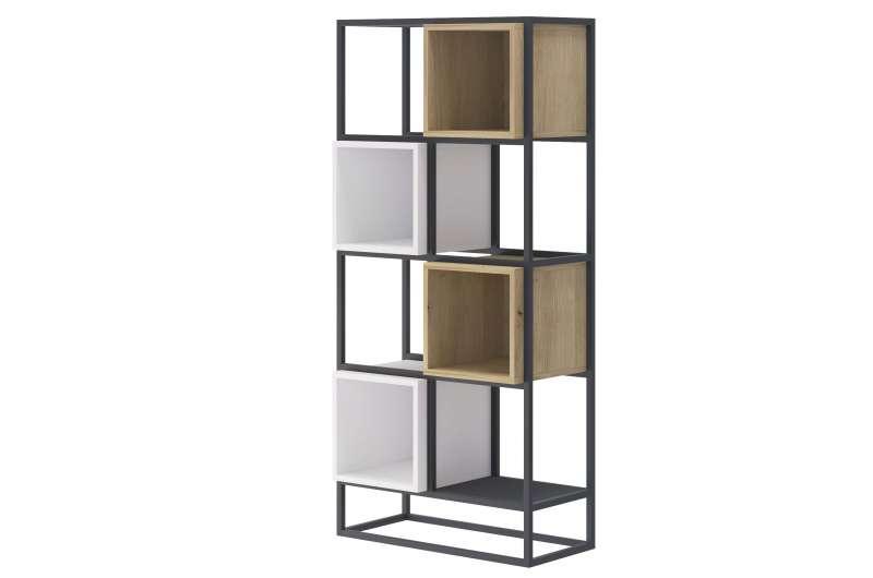 Etajeră înaltă Curtis, 144x66x35 cm, pal/ metal, gri poza