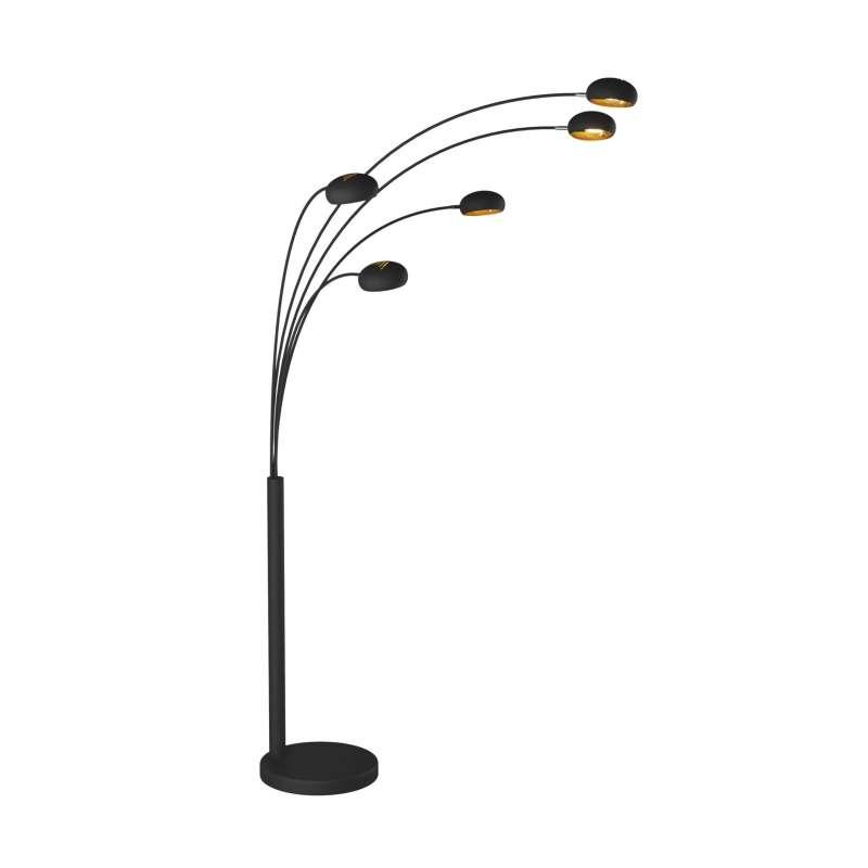 Lampadar cu cinci brațe Oliver, 208x36x115 cm, metal, negru/ auriu