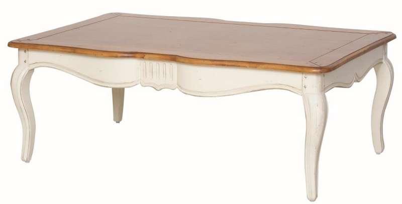 Masă de cafea Albertine, 45x122x80 cm, lemn de mesteacan, ivoire poza