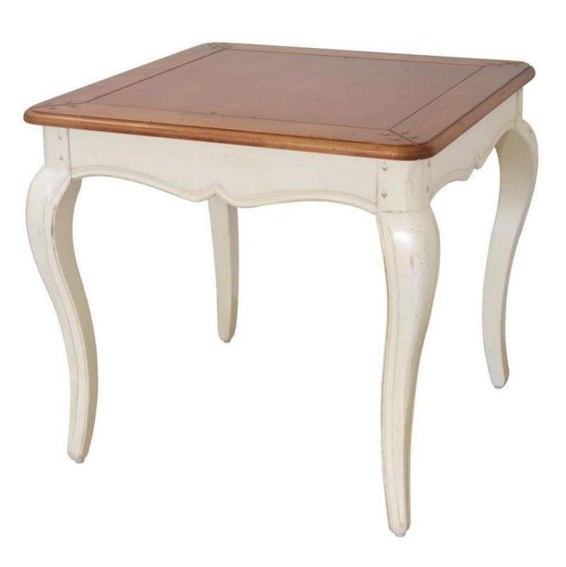 Masă patrată Albertine, 60x65x65 cm, lemn de mesteacan, ivoire poza