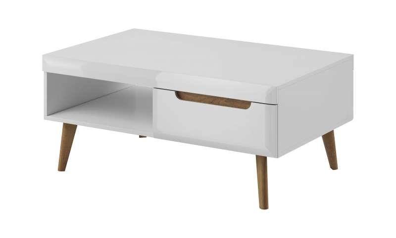 Masuță de cafea cu raft și sertar Alix, 46x107x67 cm, pal/ mdf/ lemn de stejar, maro/ alb poza