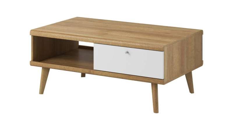 Masuță de cafea cu raft și sertar Andera, 46x107x67 cm, pal/ mdf/ lemn de stejar/ aluminiu, maro/ alb poza