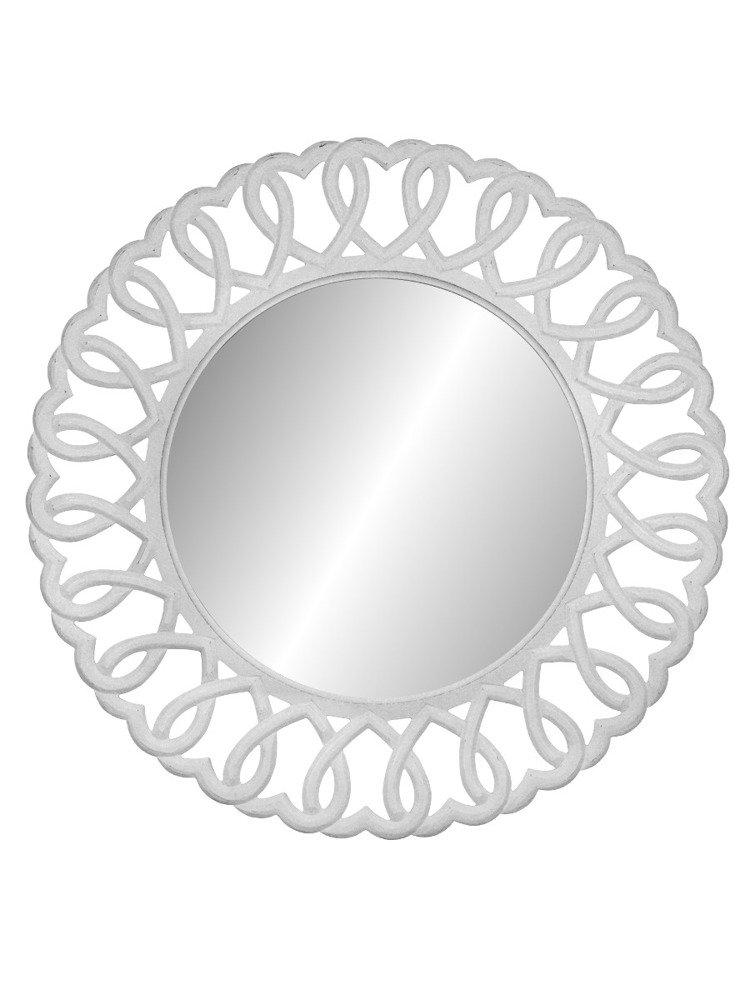 Oglindă de perete rotundă Berenice, 91x91x2 cm, lemn de plop/ mdf, alb poza