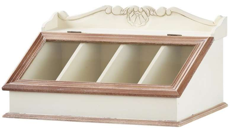 Organizator Adelaida, 26x44x23 cm, lemn de plop/ mdf/ sticla, crem/ maro deschis poza