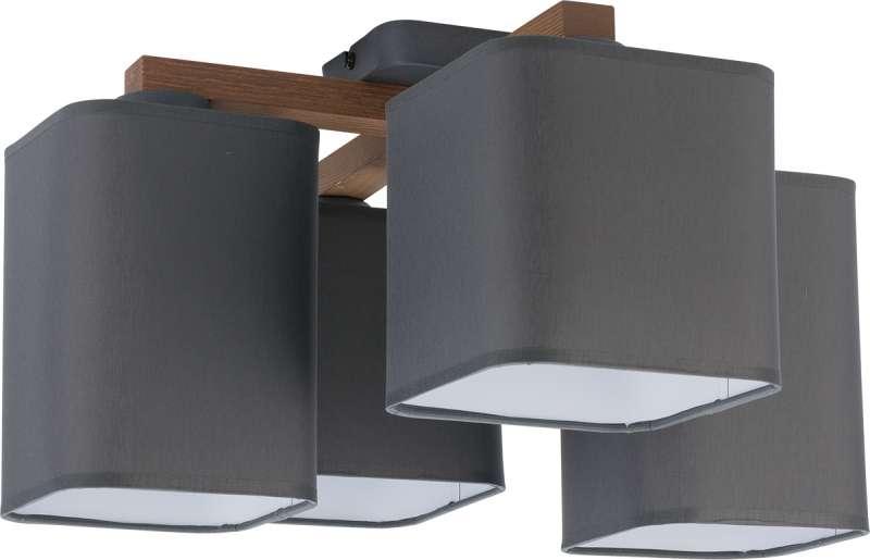 Plafonieră cu patru becuri Tyler, 23x47x47 cm, lemn/ metal, grafit/ pin poza