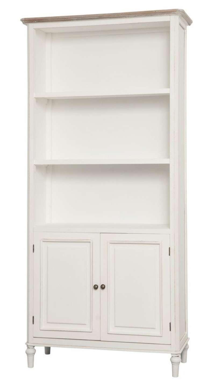 Bibliotecă cu două uși Collin, 180x87x35 cm, lemn de plop/ mdf/ metal, alb/ maro poza