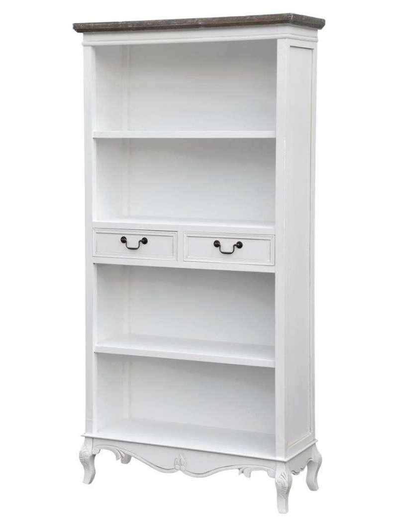 Bibliotecă cu trei rafturi și două sertare Berenice, 179x90x35 cm, lemn de plop/ mdf/ metal, alb/ maro poza