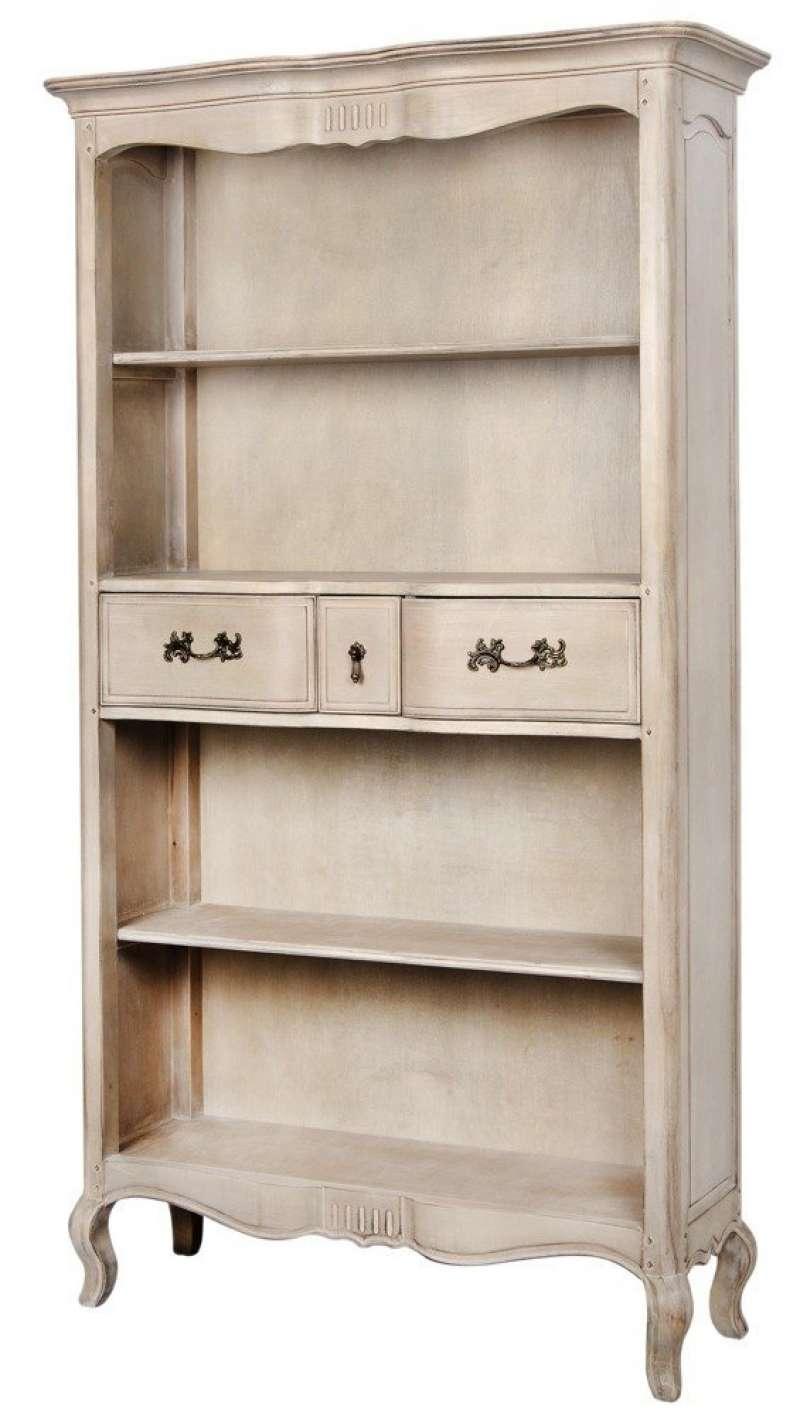 Bibliotecă cu trei rafturi și trei sertare Dominica , 195x112x39 cm, lemn de mesteacan/ metal, bej poza