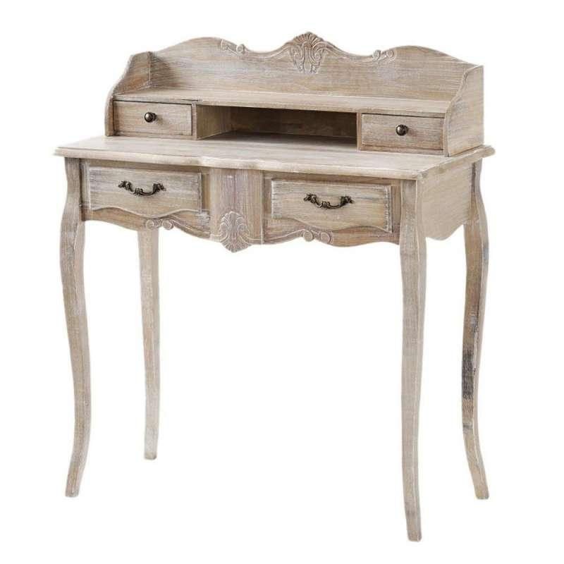 Birou stil clasic cu patru sertare Gilbert, 102x90x40 cm, lemn de plop/ mdf/ furnir/ metal, maro deschis poza