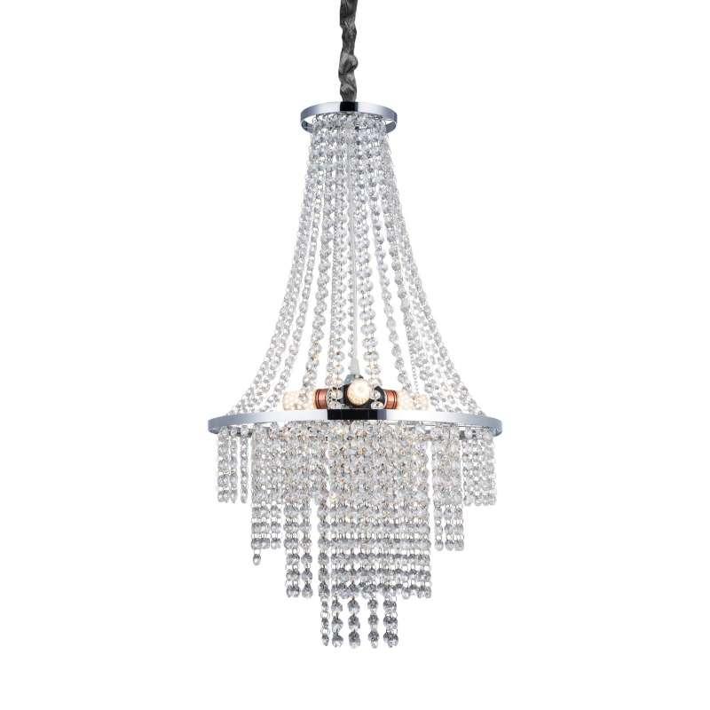 Candelabru Antoinette, 64x38,5x38,5 cm, metal/ cristal, argintiu/ transparent/ crom poza