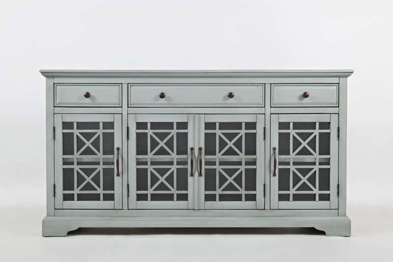 Comodă cu uși și sertare Karan, 82x153x49 cm, lemn de acacia/ mdf, gri poza