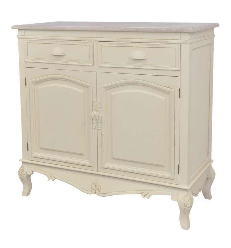 Comodă stil clasic cu două sertare și două uși Adelaida, 85x90x39 cm, lemn de plop/ mdf/ metal, crem/ maro deschis imagine