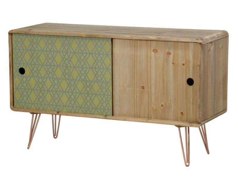 Comodă stil exotic cu două uși Amiee, 60x100x34 cm, lemn de brad/ metal, maro deschis/ verde imagine