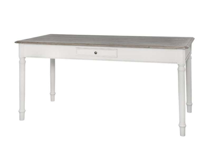 Masă living cu sertar Collin, 80x160x80 cm, lemn de plop/ mdf/ metal, alb/ maro poza