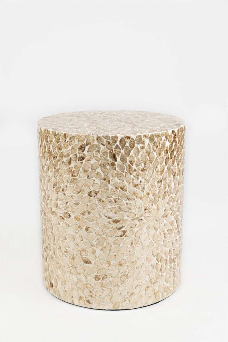 Măsuță de cafea Karan cilindrică, 46x41x41 cm, scoici, gri poza