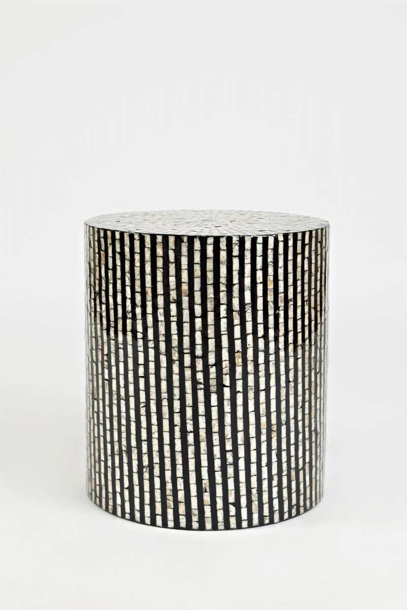 Măsuță de cafea Karan cilindrică, 46x41x41 cm, scoici, negru/ ivoire poza