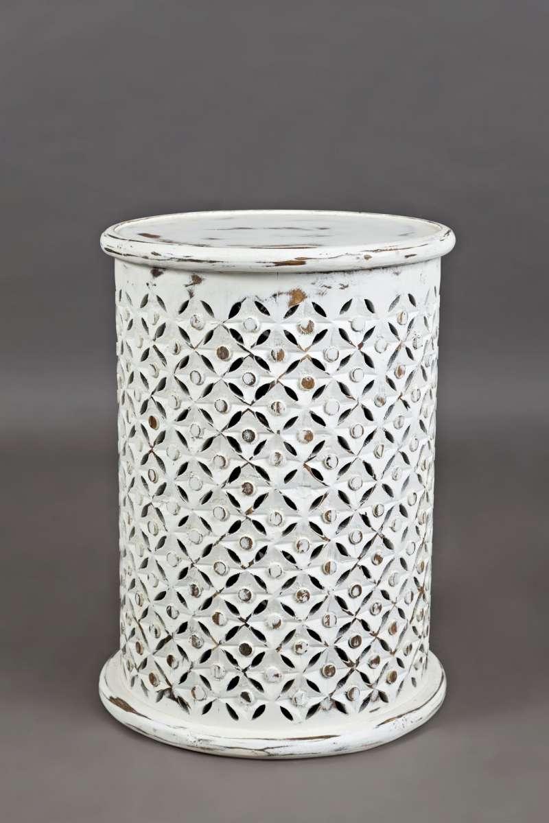 Măsuță de cafea Karan cilindrică, 59x43x43 cm, lemn de mango, alb poza