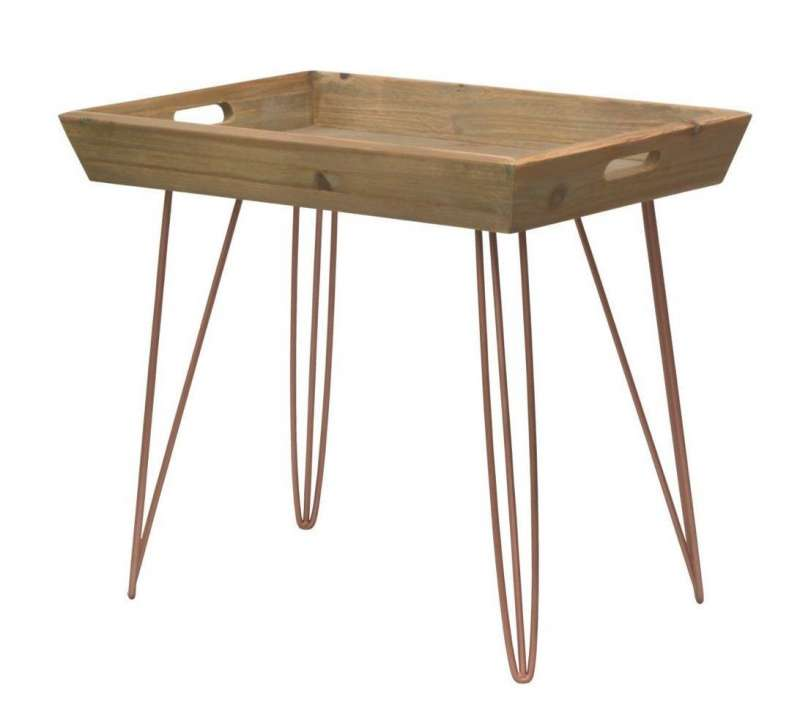 Măsuță servire Amiee, 54x60x40 cm, lemn de brad/ metal, maro deschis poza