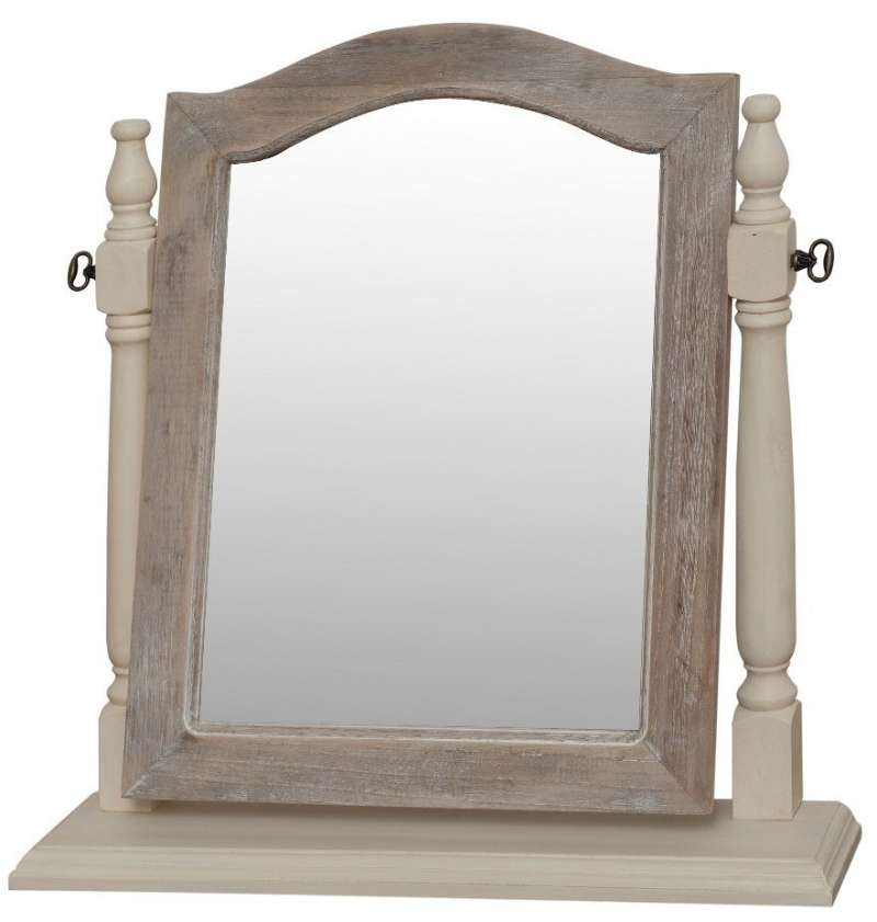 Oglindă de masă Cleopatra, 55x55x13 cm, lemn de plop/ mdf/ metal, crem/ maro deschis poza