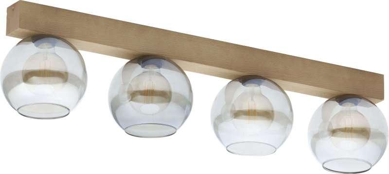 Plafonieră cu patru becuri Saul, 80x71x18 cm, lemn/ metal/ sticla, grafit/ pin poza