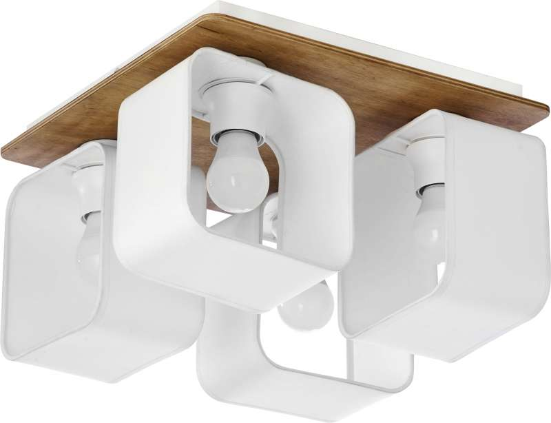 Plafonieră cu patru becuri Vada, 20x34x34 cm, lemn/ metal, alb/ pin poza