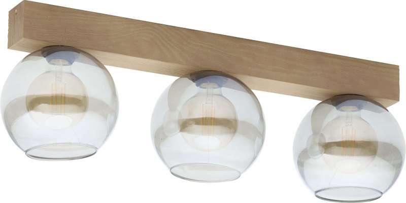 Plafonieră cu trei becuri Saul, 25x56x18 cm, lemn/ metal/ sticla, grafit/ pin poza