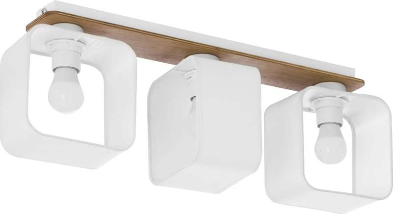 Plafonieră cu trei becuri Vada, 20x60x16 cm, lemn/ metal, alb/ pin poza