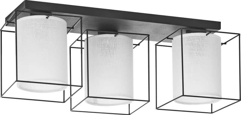 Plafonieră cu trei becuri Vonnie, 21x56x25 cm, metal, alb/ negru poza