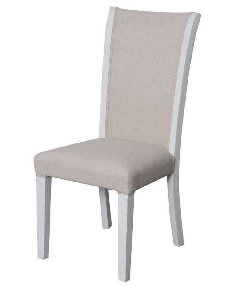 Scaun dining Eusebio, 100x45x55 cm, lemn de plop/ material textil, alb/ bej poza