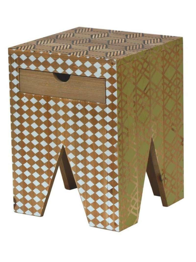 Taburet Amiee, 40x30x30 cm, lemn de brad, maro deschis/ alb/ negru/ verde poza